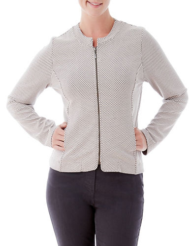 Olsen Textured Zip Jacket-BEIGE-EUR 44/US 14