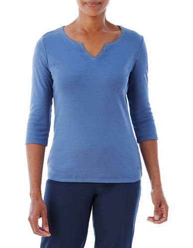 Olsen Split Neck Piet Cotton Tee-BLUE-EUR 34/US 4
