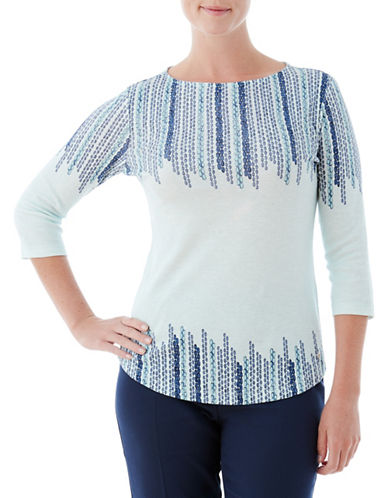 Olsen Double Border Cotton Tee-BLUE-EUR 38/US 8