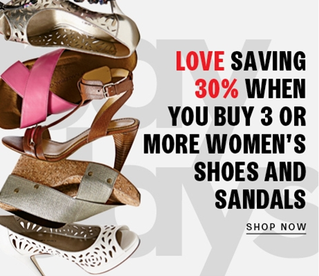 Save up to 30% on women's shoes and sandals