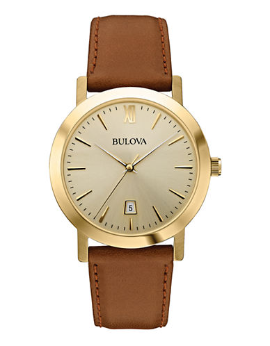 Bulova Womens Analog  Classic Collection Watch 97B135-GOLD/BROWN-One Size