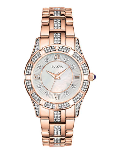 Bulova Ladies Rose Gold Crystal Watch-ROSE GOLD-One Size