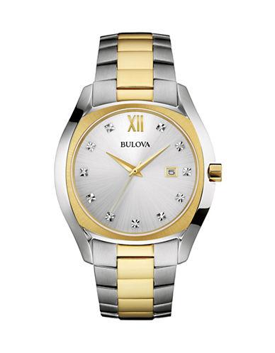 Bulova Stainless Steel Analog Diamond Dial Watch-MULTI-One Size