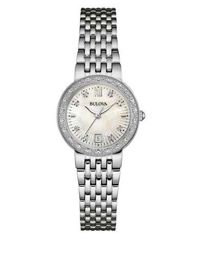 Bulova Analog Diamond Collection Stainless Steel Watch with 0.05 TCW Diamonds-SILVER-One Size