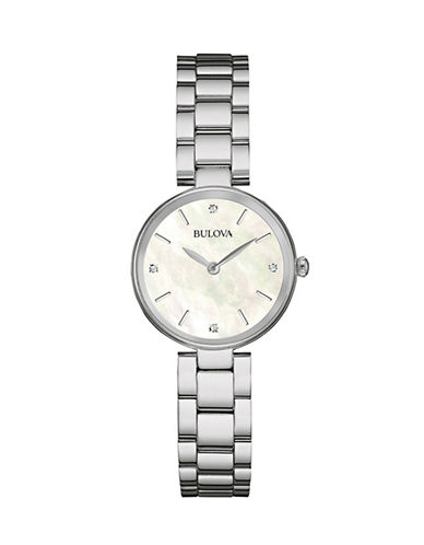 Bulova Diamond and Mother-of-Pearl Stainless Steel Watch-SILVER-One Size