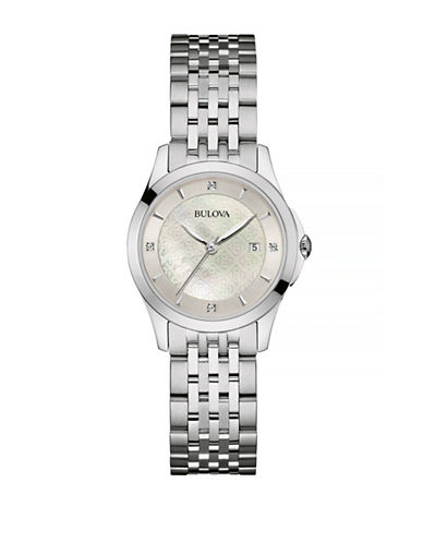 Bulova Diamond Stainless Steel Link Bracelet Watch-SILVER-One Size