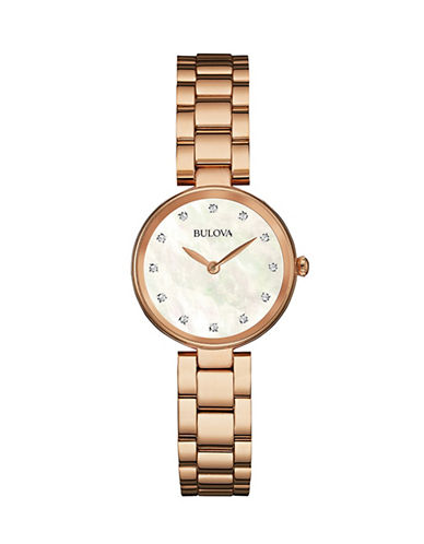 Bulova Diamond and Mother-of-Pearl Rose-Goldtone Stainless Steel Watch-ROSE GOLD-One Size