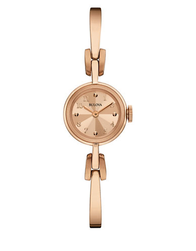Bulova Analog Classic Collection Rose-Goldplated Half Bangle Watch-ROSE GOLD-One Size