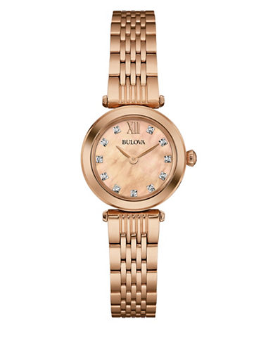 Bulova Analog Diamond Collection Rose-Goldplated Watch with 0.04 TCW Diamonds-ROSE GOLD-One Size