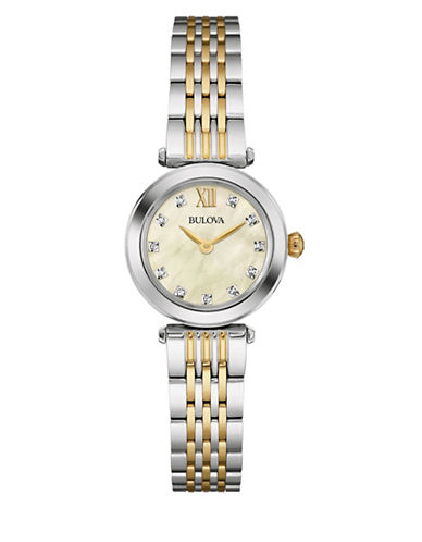 Bulova Analog Diamond Collection Dual-Goldplated Watch with 0.04 TCW Diamonds-SILVER/GOLD-One Size