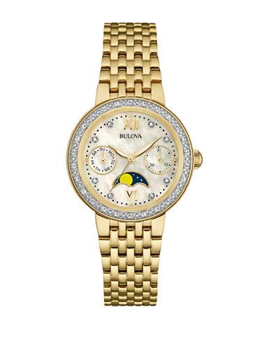 Bulova Analog Diamond Collection Moon Phase Watch with 0.03 TCW Diamonds-GOLD-One Size