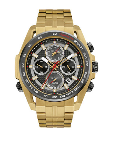 Bulova Chronograph Precisionist Collection Goldplated Watch-GOLD-One Size