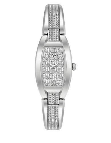 Bulova Pave Rectangle Bracelet Watch-WHITE-One Size