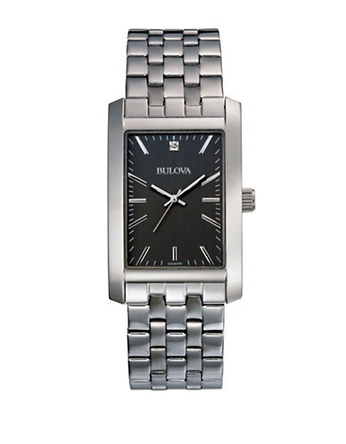 Bulova Stainless Steel Rectangular Bracelet Watch-WHITE-One Size