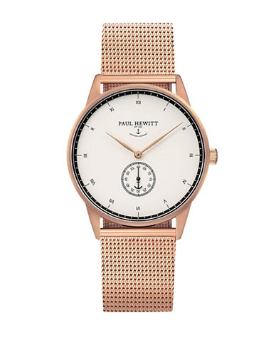 Paul Hewitt Chronograph White Ocean Rose-Goldtone Mesh Bracelet Watch-ROSE GOLD-One Size