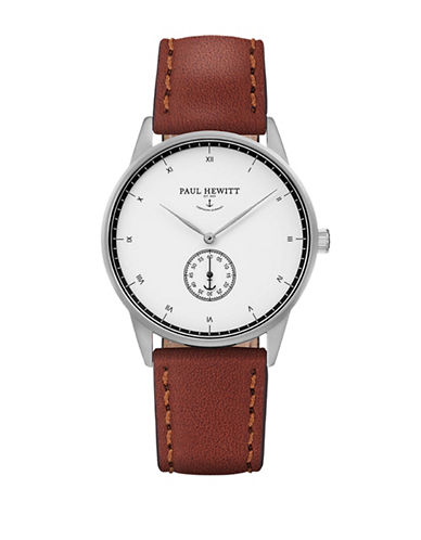 Paul Hewitt Chronograph White Ocean Stainless Steel Leather Strap Watch-BROWN-One Size