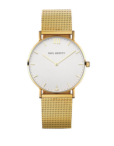 Paul Hewitt Analog White Sand Goldtone Bracelet Watch-GOLD-One Size