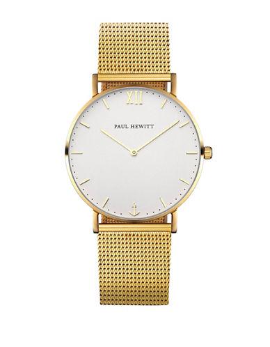 Paul Hewitt Analog White Sand Goldtone Mesh Bracelet Watch-GOLD-One Size