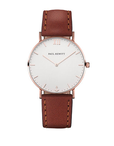 Paul Hewitt Analog White Sand Rose-Goldtone Leather Strap Watch-BROWN-One Size