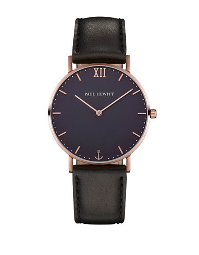 Paul Hewitt Analog Blue Lagoon Rose-Goldtone Leather Strap Watch-BLACK-One Size