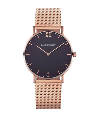 Paul Hewitt Analog Blue Lagoon Rose-Goldtone Mesh Bracelet Watch-ROSE GOLD-One Size
