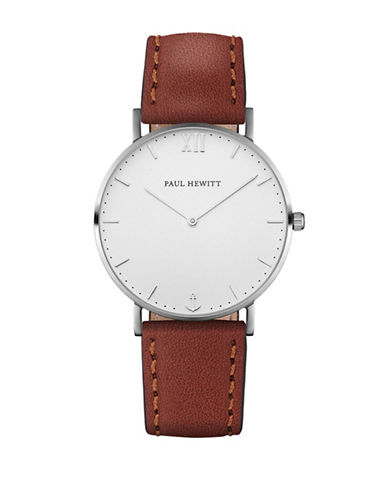 Paul Hewitt Analog White Sand Stainless Steel Leather Strap Watch-BROWN-One Size