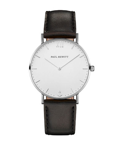 Paul Hewitt Analog White Sand Stainless Steel Leather Strap Watch-BLACK-One Size