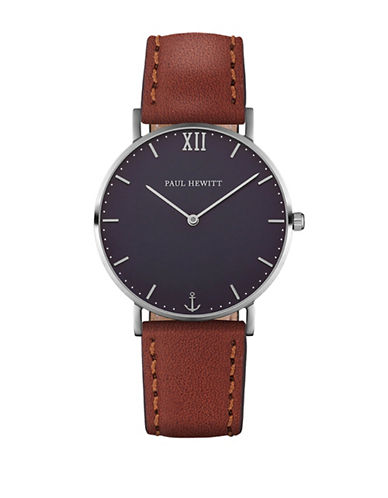 Paul Hewitt Analog Blue Lagoon Stainless Steel Leather Strap Watch-BROWN-One Size