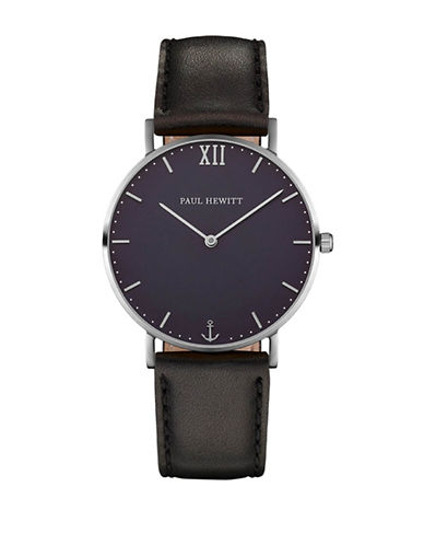 Paul Hewitt Sailor Line Blue Lagoon IP Silvertone Leather Strap Watch-BLACK-One Size