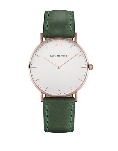 Paul Hewitt Analog White Sand Rose-Goldtone Leather Strap Watch-GREEN-One Size