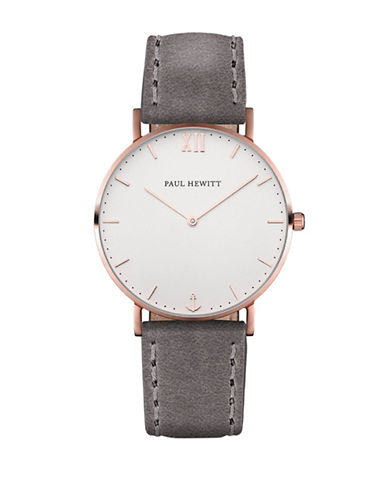 Paul Hewitt Analog White Sand Rose-Goldtone Leather Strap Watch-GREY-One Size