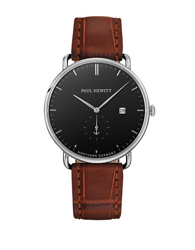 Paul Hewitt Black Sea Stainless Steel Leather Strap Watch-BROWN-One Size