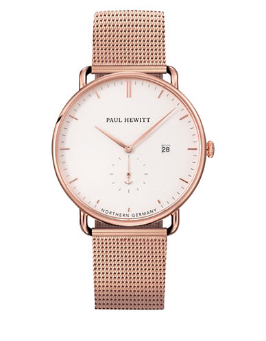 Paul Hewitt Grand Atlantic Line White Sand Metal Strap Watch-ROSE GOLD-One Size