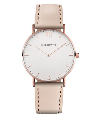 Paul Hewitt Sailor Line White Sand Rose Gold Leather Strap Watch-ROSE GOLD-One Size