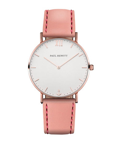 Paul Hewitt Sailor Line White Sand IP Rose Goldtone Leather Strap Watch-PINK-One Size