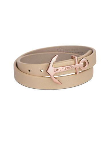 Paul Hewitt North Bound Rose Goldtone Anchor Leather Wrap Bracelet-ROSE GOLD-One Size