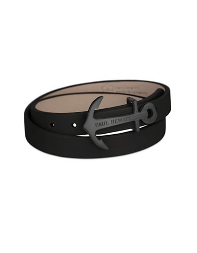 Paul Hewitt North Bound Black IP Anchor Leather Wrap Bracelet-BLACK-One Size