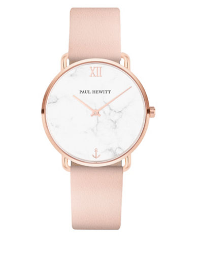 Paul Hewitt Miss Ocean Line Marble IP Rose Goldtone Pink Leather Strap Watch-ROSE GOLD-One Size
