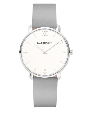 Paul Hewitt Mermaid Line White Sand Grey Leather Strap Watch-SILVER-One Size 89692129_SILVER_One Size
