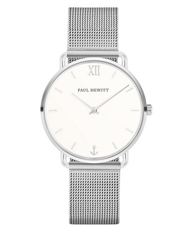 Paul Hewitt Mermaid Line White Sand Stainless Steel Mesh Strap Watch-SILVER-One Size