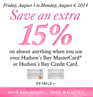 Save 15% off with Hudson's Bay Credit