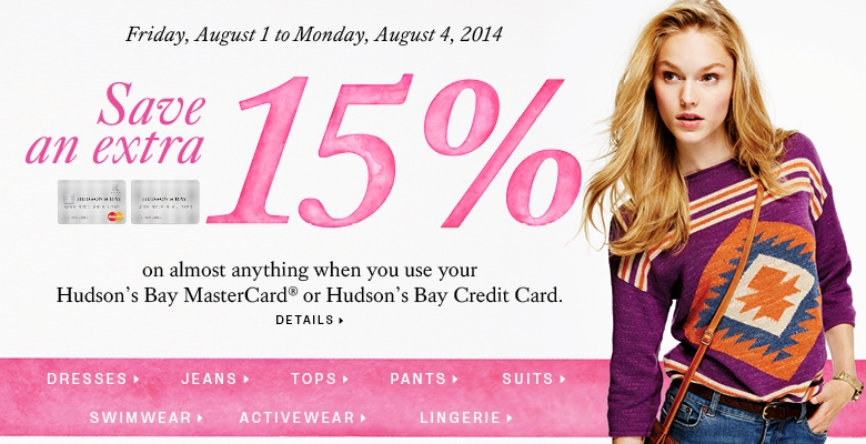 Save 15% with Hudson's Bay Credit