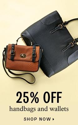 25% off handbags and wallets