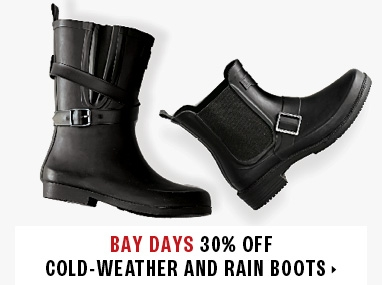 up to 30% off cold weather and rainboots