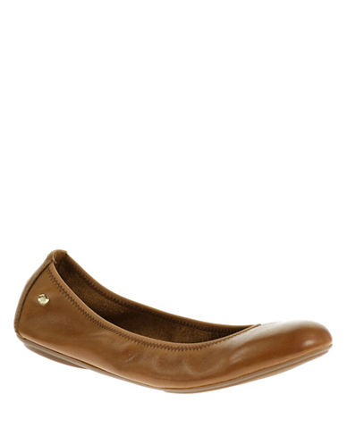 Hush Puppies Leather Ballet Flats-COGNAC-7.5