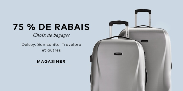 75% off select luggage. Delsey, Samsonite, TravelPro and more