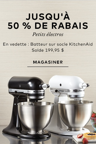 Up to 50% off small appliances - featuring KitchenAid Stand Mixer.