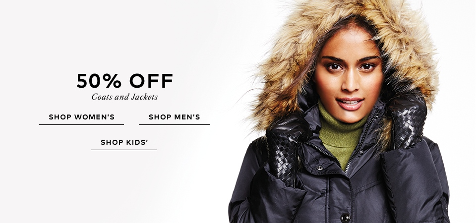 50% off Coats and Jackets