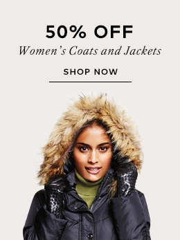 50% off women's coats and jackets