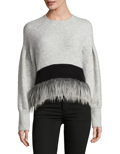 Tomorrowland Wool-Blend Faux Fur Fringe Sweater-GREY-Large